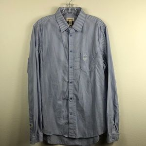 Diesel Blue White Striped Slim Fit Shirt Large